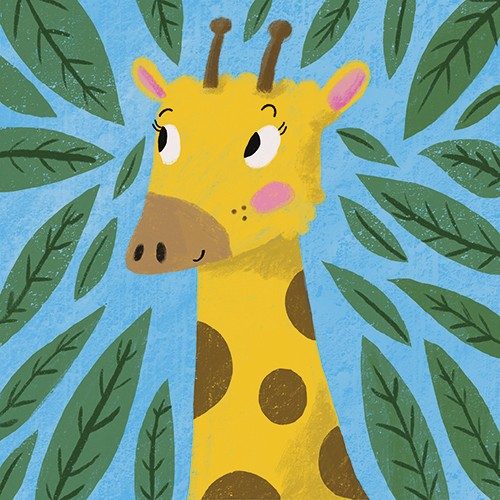 Emily Cooksey Illustration - emily cooksey, illustrator, digital, texture, pencil, line work, fiction, mass market, picture books, middle grade, young reader, animal, character, wild, giraffe, leaves, plants, nature, jungle, smile, cute, sweet, tall, cover, story, book,