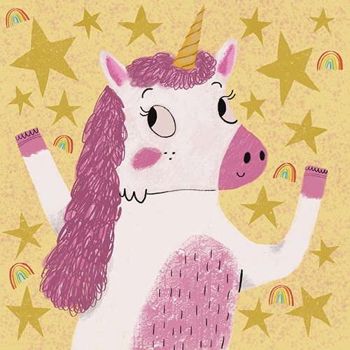 Emily Cooksey Illustration - emily cooksey, illustrator, digital, texture, pencil, line work, fiction, mass market, picture books, middle grade, young reader, animal, character, magic, creature, fantasy, unicorn, stars, rainbows, smile, cute, sweet, cover, story, book,