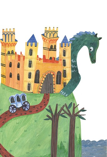 Emily Cooksey Illustration - emily cooksey, illustrator, digital, texture, pencil, line work, fiction, mass market, picture books, middle grade, young reader, colour, colourful, adventure, dragon, fantasy, magic, castle, carriage, cliff, ocean, medieval, creature, hiding, cute, anima