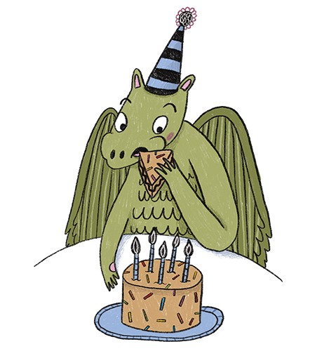 Emily Cooksey Illustration - emily cooksey, illustrator, digital, texture, pencil, line work, fiction, mass market, picture books, middle grade, young reader, character, dragon, animal, magical, fantasy, cake, birthday, birthday cake, party hat, hat, eating, food, fun,