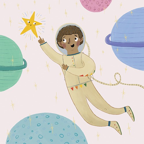Emily Cooksey Illustration - emily cooksey, illustrator, digital, texture, pencil, line work, fiction, mass market, picture books, middle grade, young reader, colourful, character, boy, astronaut, helmet, stars, space, science, planets, stars, face, smile, friends, explore, adventure