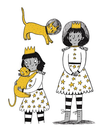Emily Cooksey Illustration - emily cooksey, illustrator, digital, texture, pencil, line, fiction, mass market, picture books, middle grade, young reader, black and white, b & w, colour, spot colour, girl, character, crown, princess, cat, stars, dress, pet, animal, friends, helmet,