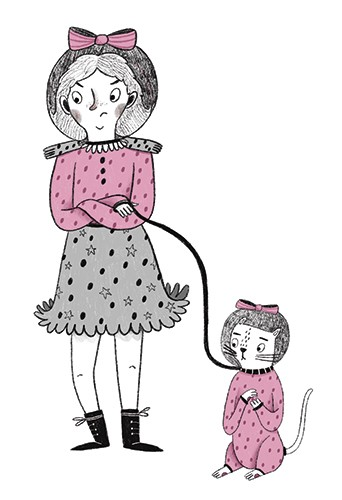 Emily Cooksey Illustration - emily cooksey, illustrator, digital, texture, pencil, line work, fiction, mass market, picture books, middle grade, young reader, black and white, b & w, spot colour, girl, character, grumpy, pet, animal, helmet, space, walk, lead, bow,