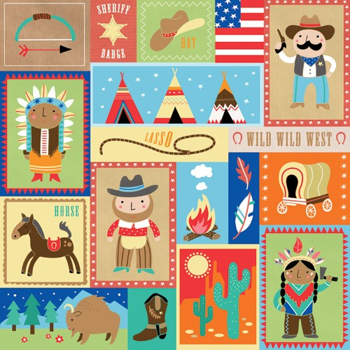 Emily  Golden  Illustration - emily, golden, emily golden,  digital,colourful, colour, commercial, novelty, picture book, picturebook, animals, indians, cowboys, people, figures, tents, sheriff, america, outdoors, feathers, fire, cactus, dessert,hat, flag, bow, arrow