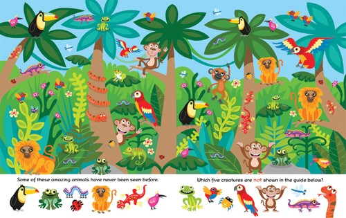 Emily Golden Illustration - emily, golden, emily golden, digital,colourful, colour, commercial, novelty, picture book, picturebook, animals, jungle, monkeys, frogs, parrots, birds, snakes, trees, jungle, lizards, chameleon, colourful, colour, bright