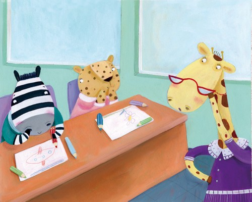 Francesca Assirelli Illustration - francesca, assirelli, francesca assirelli, acrylic, acrylic paint, paint, painted, commercial, trade, picturebook, picture book, animal, cute, sweet, giraffe, zebra, cheetah, school ,teacher, learning
