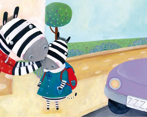 Francesca Assirelli Illustration - francesca, assirelli, francesca assirelli, acrylic, acrylic paint, paint, painted, commercial, trade, picturebook, picture book, animal, cute, sweet, zebras, school run, car, drive, rucksack, pupil, mum, dad,
