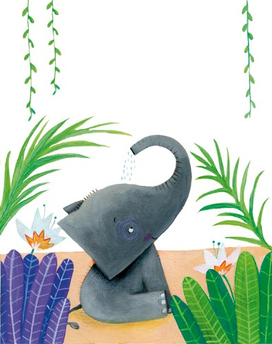 Francesca Assirelli Illustration - francesca, assirelli, francesca assirelli, acrylic, acrylic paint, paint, painted, commercial, trade, picturebook, picture book, animal, cute, sweet, elephant, playing, play time, flowers, leaves, trees , water
