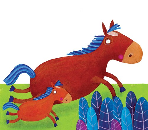 Francesca Assirelli Illustration - francesca, assirelli, francesca assirelli, acrylic, acrylic paint, paint, painted, commercial, trade, picturebook, picture book, animal, horse, foal, family, running, outdoors, grass