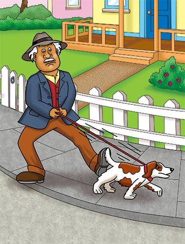 Geoff Ball Illustration - geoff, ball, geoff ball, value, colouring, commercial, educational, advertising, digital, photoshop, illustrator, colour, man, dog, walk, pavement, lead, town, animal, path, road, house