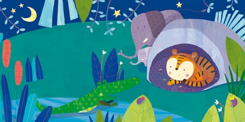 Giuditta Gaviraghi Illustration - giuditta, gaviraghi, guiditta gaviraghi,digital, traditional, commercial, picture book, picturebook, colour, colourful, sweet, animal, elephant, playing, tiger, crocodile, water, river, plants, night, dark, moon, stars, cave