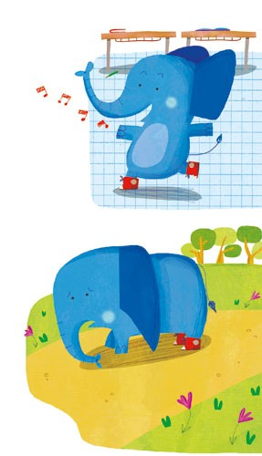 Giuditta Gaviraghi Illustration - giuditta, gaviraghi, guiditta gaviraghi,digital, traditional, commercial, picture book, picturebook, colour, colourful, sweet, animal, elephant, playing, singing, baby, collage, trees