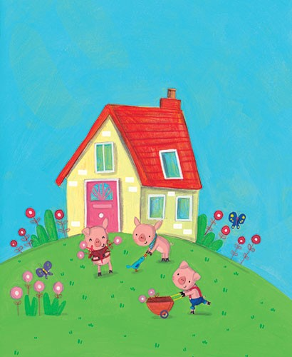 Giuditta Gaviraghi Illustration - giuditta, gaviraghi, guiditta gaviraghi,digital, traditional, commercial, picture book, picturebook, colour, colourful, sweet, animal, pigs, three little pigs, YA, young reader, cute, house, flowers, gardening, sky, colour