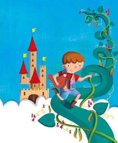 Giuditta Gaviraghi Illustration - giuditta, gaviraghi, guiditta gaviraghi,digital, traditional, commercial, picture book, picturebook, colour, colourful, sweet, animal, chicken, boy, child, castle, bean stalk, jack and the bean stalk, beans, magic beans, clouds, colour, painted