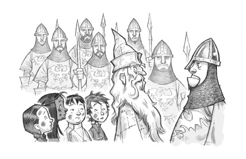 Graham Howells Illustration - graham, howells, graham howells, commercial, fiction, fantasy, young reader, young, YA, black line, line, black and white, guards, children, people, person, boy, girl, adventure, wizard, armour, spears, helmets