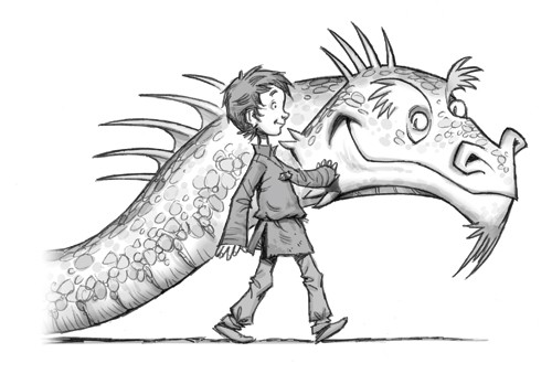 Graham Howells Illustration - graham, howells, graham howells, commercial, fiction, fantasy, young reader, young, YA, black line, line, black and white, boy, dragon, magic, child, person, figure, friends, friendship