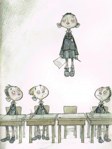Graham Howells Illustration - graham, howells, graham howells, commercial, fiction, fantasy, young reader, young, YA, black line, line, boys, children, school, magic, desks, table, flying, paper, pen, sketchy, child, people, person, figures, figurative