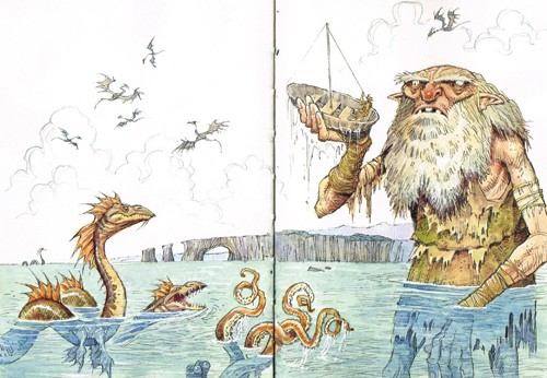 Graham Howells Illustration - graham, howells, graham howells, commercial, fiction, fantasy, young reader, young, YA, monster, sea, dragons, fantasy, boat, beard, man, person, figure, giant, octopus, danger, adventure, flying, colour, colourful