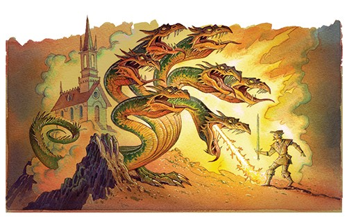 Graham Howells Illustration - graham, howells, graham howells, commercial, fiction, fantasy, young reader, young, YA, colour, colourful, dragons, fire, fight, fighting, castle, dragons, creature, monster, mythical creatures