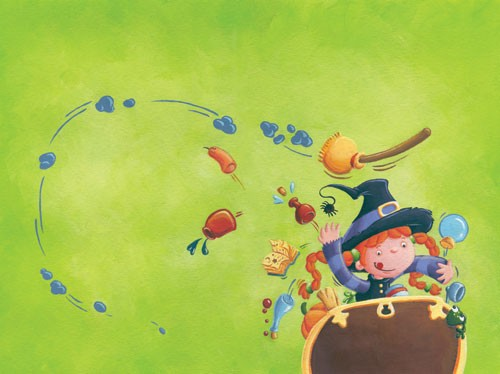Garyfallia Leftheri Illustration - garyfallia leftheri, acrylic, paint, painted, commercial, picture book, picturebook, educational, people, children, girls, witches, halloween, cauldron, magic, magical