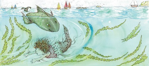 Heather Dickinson Illustration - heather, dickinson, heather dickinson, traditional, paint, painted, painting, watercolour, pencil, commercial, picture book, fiction, educational, shark, fish, girl, child, person, figure, mermaid, seaweed, boats, sea, ocean, water, waves, sailing, young reader, YA