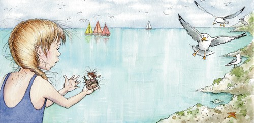 Heather Dickinson Illustration - heather, dickinson, heather dickinson, traditional, paint, painted, painting, watercolour, pencil, commercial, picture book, fiction, educational, young reader, YA, seagull, mermaid, girl, child, children, figures, people, water, boats, sailing, sail, sea, water, ocean young reader , YA