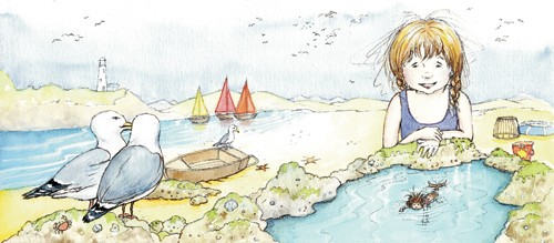 Heather Dickinson Illustration - heather, dickinson, heather dickinson, traditional, paint, painted, painting, watercolour, pencil, commercial, picture book, fiction, educational, young reader, YA, girl, mermaid, children, child, water, people, person, figure, seagull, bird, boats, lake, sea, building, clouds, young reader, YA