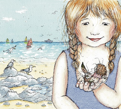 Heather Dickinson Illustration - heather, dickinson, heather dickinson, traditional, paint, painted, painting, watercolour, pencil, commercial, picture book, fiction, educational, young reader, YA, girl, mermaid, children, child, people, person, figure, seagulls birds, boats, sailing, sail, water, sea, ocean, clouds, beach
