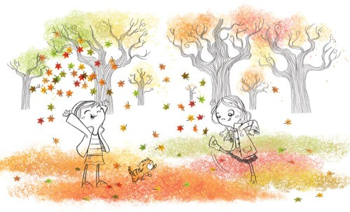 Heath McKenzie Illustration - heath mckenzie, heath, mckenzie, digital, commercial, fiction, picture book, educational, children, people, girls, autumn, playing, black line