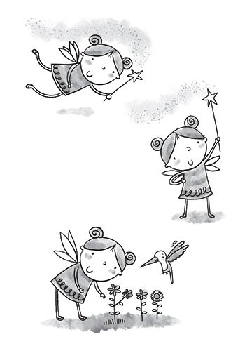 Helen Prole Illustration - helen, prole, helen prole, illustration, commercial, digital, mass market, picture books, hand drawn, black and white, b & w, fairy, characters, fantasy, girl, child, wand, fairy dust, magic, flowers, wings, birds, hummingbird
