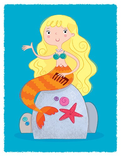 Helen Prole Illustration - here, people, helen prole, illustration, commercial, digital, mass market, picture books, hand drawn, colourful, characters, mermaid, girl, person, figure, sea, ocean, rock, water, starfish, shells, fantasy