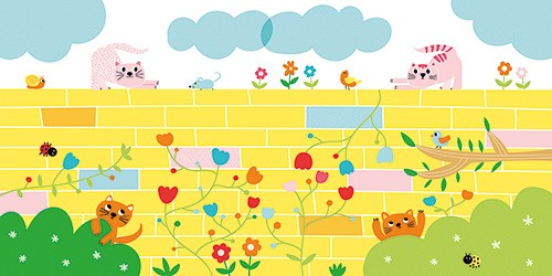Isabel Aniel Illustration - isabel aniel, isabel, aniel, digital, photoshop, illustrator, commercial, picture book, novelty, board book, sweet, cute, young, young reader, YA, cat, cats, kittens, animals, pets, bricks, wall, clouds, hedge, flowers, mouse