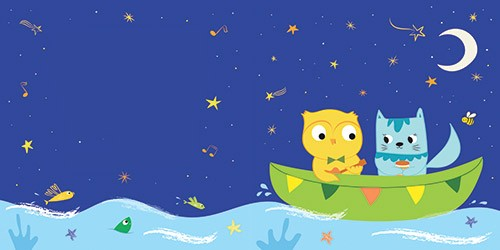 Isabel Aniel Illustration - isabel aniel, isabel, aniel, digital, photoshop, illustrator, commercial, picture book, novelty, board book, sweet, cute, young, animals, cats, kitty, kitties, kitten, owls, birds, owl and the pussy cat, boats, ships, waves, sea, fishes, star fish, stars, nighttime, music, instruments, guitars, moon,