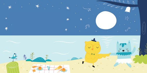 Isabel Aniel Illustration - isabel aniel, isabel, aniel, digital, photoshop, illustrator, commercial, picture book, novelty, board book, sweet, cute, young, young reader, YA, animals, cat, owl, pussycat, bird, nursery tales, moon, picnic, water, stars, beach, stars, night time