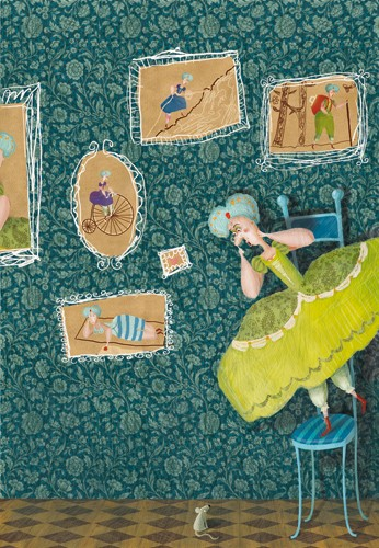 Inna Chernyak Illustration - inna, chernyak, inna chernyak, painted, digital, acrylic, trade, commercial, picturebook, young reader, YA, person, figure, woman, lady, quirky, funny, humor, mouse, pattern, pictures, frames