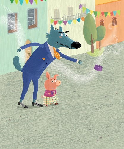 Inna Chernyak Illustration - inna, chernyak, inna chernyak, painted, digital, acrylic, trade, commercial, picturebook, young reader, YA, animals, wolf, pig, town, buildings, tree, decoration, suit, colourful, colour