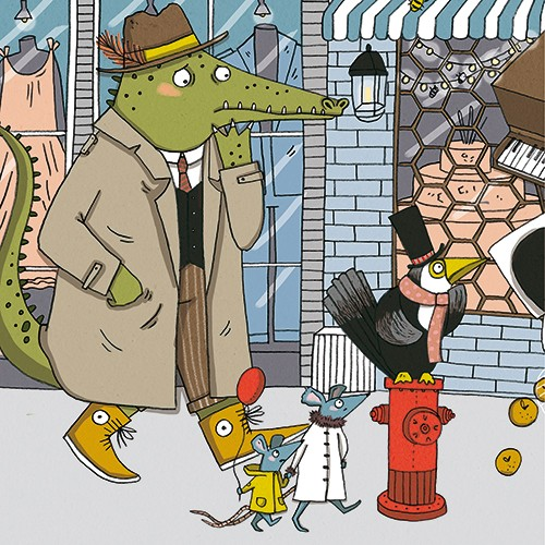 Isobel Lundie Illustration - isobel, lundie, isobel lundie, illustrator, digital, colour, colourful, graphic, texture, bold, street, busy, people, animals, town, road, buildings, shops, crocodile, coat, walking, mice, bird, hat, scarf, worried, balloon, window,