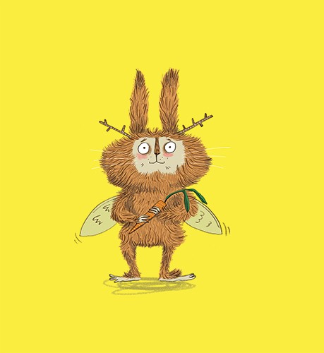 Isobel Lundie Illustration - isobel, lundie, isobel lundie, illustrator, digital, colour, colourful, graphic, texture, bold, rabbit, messy, wild, animal, nature, sticks, wings, carrot, character, cute, funny,
