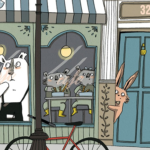 Isobel Lundie Illustration - isobel, lundie, isobel lundie, illustrator, digital, colour, colourful, graphic, street, busy, people, animals, town, road, buildings, shops, window, cafe, koalas, polar bear, bear, apron, waiter, bunny, rabbit, pillar, hiding,bike, lamppost, watching,