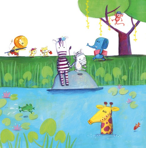 Judi Abbot Illustration - judi, abbot, judi abbot, acrylic, paint, painted, trade, traditional, commercial, picture book, picturebook, sweet, cute, animals, zebras, pond, lake, water, giraffe, lion, monkey, elephant,