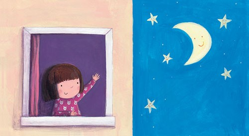 Judi Abbot Illustration - judi, abbot, judi abbot, acrylic, paint, painted, trade, traditional, commercial, picture book, picturebook, sweet, cute, girl, night, stars, sleep, room, moon,