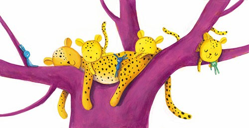 Judi Abbot Illustration - judi, abbot, judi abbot, acrylic, paint, painted, trade, traditional, commercial, picture book, picturebook, sweet, cute, animals, cheetahs, leopards, tree, toys, teddy, jungle, sleeping