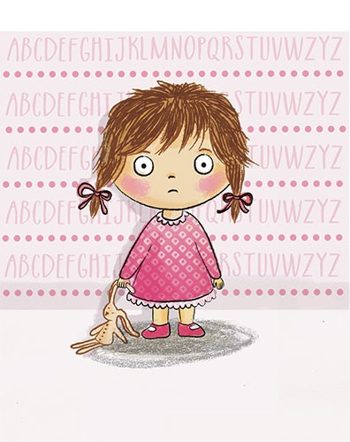 Jessica Allan Illustration - jessica, allan, jessica allan, commercial, educational, fiction, mass market, value, greetings cards, funny, picture book, young reader, YA, digital, photoshop, pen, line, black line, pattern, girl, alphabet, sweet, young, teddy, dress, frills