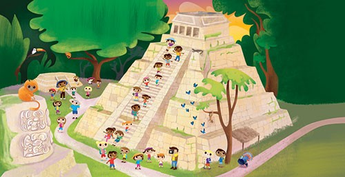 Jana Curll Illustration - jana, curll, jana curll, commercial, education, fiction, young reader, picture book, mass market, value, sweet, cute, young, photoshop, digital, illustrator, pyramid, ruins, trees, forest, woods, monkeys, bricks, people, characters, tourists, holiday, sun