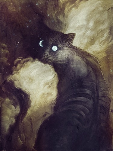 Jana  Heidersdorf Illustration - ana, heidersdorf, jana heidersdorf, illustrator, illustration, painterly, person, figure, photoshop, hand drawn, pencil, coloured pencil, dark, fantasy, adventure, magic, mystery, animal, cat, pet, beautiful, moon, stars, night, night time, clouds, YA, yo