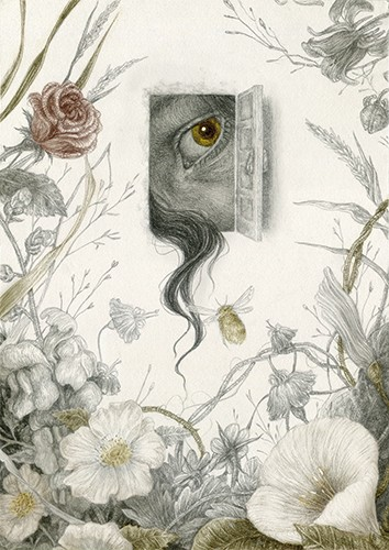 Jana  Heidersdorf Illustration - ana, heidersdorf, jana heidersdorf, illustrator, illustration, painterly, person, figure, photoshop, hand drawn, pencil, coloured pencil, dark, fantasy, adventure, magic, mystery, flowers, floral, pattern, eye, face, hair, pencil, pencil crayon, bee, inse