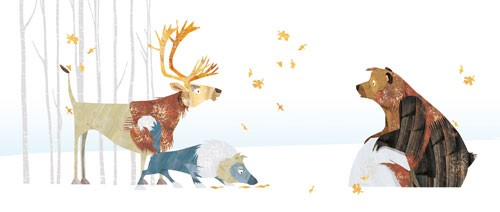 Jonny Lambert Illustration - jonny, lambert, jonny lambert, jonathan, lambert, jonathan lambert, digital, commercial, trade, picture book, fiction, educational, animals, bears, reindeer, deer, wolves, wolf, winter, autumn, leaves, trees, forest, snow, snowing