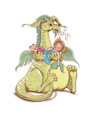 Jennifer Miles  Illustration - jennifer, miles, jennifer miles, watercolour, traditional, painted, educational, picture book, commercial, digital, fantasy, dragon, girl, music, singing, cute, funny, sweet, humour