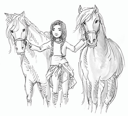 Jennifer Miles  Illustration - jennifer, miles, jennifer miles, watercolour, traditional, painted, educational, picture book, commercial, digital, cute, sweet, girl, black and white, b&w, line, mark making, teen, girl, fiction, horses,