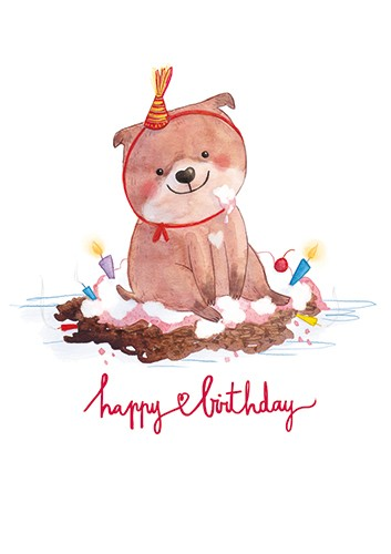 Jessica Martinello Illustration - jessica, martinello, jessica martinello, illustration, hand drawn, painted, digital, novelty, picture book, commercial, educational, sweet, young, fiction, trade, YA, dog, pet, animal, cute, birthday, cake, mess, hat, smile, happy, silly,